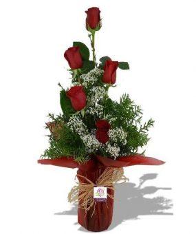 5 Rosas rojas con jarrón