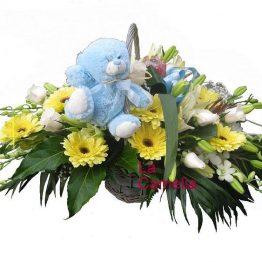 Cesta nacimiento de flor variada + Peluche