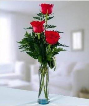 Jarrón con Tres Rosas Rojas