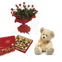 Ramo-12-rosas-rojas-estuche-bombones-caja-roja-nestle-peluche-vigo